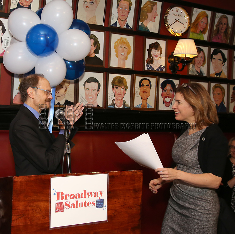 David Hyde Pierce and Julie Menin attends The Broadway League and the Coalition of Broadway Unions and Guilds (COBUG) presents the 9th Annual Broadway Salutes at Sardi's on November , 2017 in New York City.