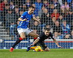 24.11.2018 Rangers v Livingston: Gareth McAuley and Scott Robinson