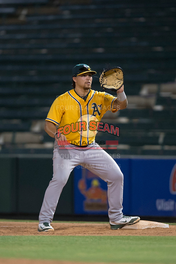 AZL Athletics first baseman Gio Dingcong (26) during an Arizona League game against the AZL Angels at Tempe Diablo Stadium on June 26, 2018 in Tempe, Arizona. The AZL Athletics defeated the AZL Angels 7-1. (Zachary Lucy/Four Seam Images)