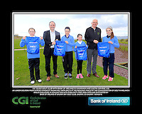 Co. Sligo Girls with PJ Kavanagh from Bank of Ireland and Justin O'Byrne from CGI.<br /> Junior golfers from across connacht practicing their skills at the regional finals of the Dubai Duty Free Irish Open Skills Challenge supported by Bank of Ireland at Galway Bay golf club, Galway, Co Galway. 2/04/2016.<br /> Picture: Golffile | Fran Caffrey<br /> <br /> <br /> All photo usage must carry mandatory copyright credit (© Golffile | Fran Caffrey)