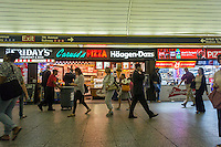 Restaurants and fast food establishments on the LIRR concourse in Pennsylvania Station in New York on Tuesday, September 9, 2014. Vornado Realty, the landlord of the retail complex, is attempting to upgrade the concourse level which currently is chock full of fast food establishments. The leases are not being renewed and the fast food joints are being pushed out. (© Richard b. Levine)