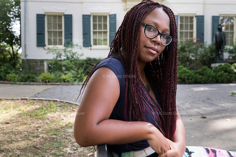 Natalya Lynn, of Mount Airy, Pennsylvania, 23, seen here in Vernon Park in East Germantown, Philadelphia, Pennsylvania, on Tues., July 26, 2016. Lynn was in the park playing Pokemon Go with a friend.