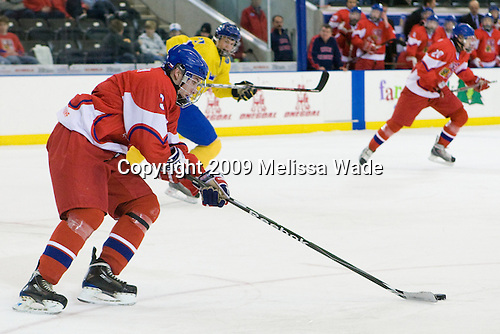 Adam Polasek (Czech Republic - 3) - Sweden defeated the Czech Republic 4-2 at the Urban Plains Center in Fargo, North Dakota, on Saturday, April 18, 2009, in their final match of the 2009 World Under 18 Championship.