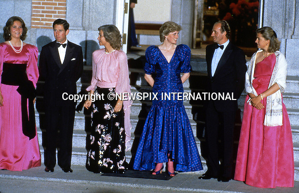 """PRINCE CHARLES AND PRINCESS DIANA SPANISH TOUR 1987.attend the official Dinner at Zarzuela Palace, Madrid_April 1987..Picture Shows: The Royal couple with King Juan Carlos, Queen Sofia, Infanta Cristina and Infanta Elena.Mandatory Credit Photo: ©Francis Dias/NEWSPIX INTERNATIONAL..**ALL FEES PAYABLE TO: """"NEWSPIX INTERNATIONAL""""**..IMMEDIATE CONFIRMATION OF USAGE REQUIRED:.Newspix International, 31 Chinnery Hill, Bishop's Stortford, ENGLAND CM23 3PS.Tel:+441279 324672  ; Fax: +441279656877.Mobile:  07775681153.e-mail: info@newspixinternational.co.uk"""