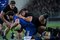 NZ's Joe Moody tackles France's Kevin Gourdon during the Steinlager Series international rugby match between the New Zealand All Blacks and France at Forsyth Barr Stadium in Wellington, New Zealand on Saturday, 23 June 2018. Photo: Dave Lintott / lintottphoto.co.nz