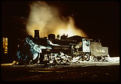 D&amp;RGW #483 steaming away the evening - night shot.<br /> D&amp;RGW  Chama, NM  Taken by Gildersleeve, Thomas H.