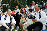 (L-R) Yoshiro Mori, Mariko Hayashi, Pinko Izumi, <br /> Toshiro Muto, <br /> JULY 24, 2017 : <br /> Event for Tokyo 2020 Olympic and Paralympic games is held <br /> at Toranomon hills in Tokyo, Japan. <br /> &quot;TOKYO GORIN ONDO&quot; will be renewed as &quot;TOKYO GORIN ONDO - 2020 -&quot;.<br /> (Photo by Yohei Osada/AFLO SPORT)