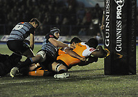 Toyota Cheetahs&rsquo; Ox Nche scores his side's first try<br /> <br /> Photographer Kevin Barnes/CameraSport<br /> <br /> Guinness Pro14  Round 14 - Cardiff Blues v Toyota Cheetahs - Saturday 10th February 2018 - Cardiff Arms Park - Cardiff<br /> <br /> World Copyright &copy; 2018 CameraSport. All rights reserved. 43 Linden Ave. Countesthorpe. Leicester. England. LE8 5PG - Tel: +44 (0) 116 277 4147 - admin@camerasport.com - www.camerasport.com