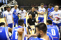 The Saints huddle during the national basketball league match between Wellington Saints and Mountain Airs at TSB Bank Arena, Wellington, New Zealand on Friday, 6 May 2016. Photo: Dave Lintott / lintottphoto.co.nz