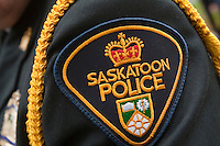Saskatoon Police badge is seen during a police memorial parade in Ottawa Sunday September 26, 2010.