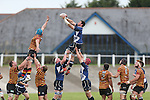 Leinster lock Ben Marshall wins the line out ball.<br /> British &amp; Irish Cup<br /> Carmarthen Quins v Leinster A<br /> Carmarthen Park<br /> 25.10.14<br /> &copy;Steve Pope-SPORTINGWALES