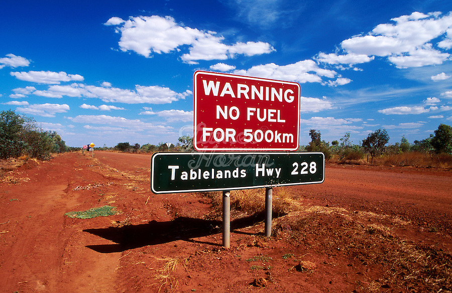 """A road sign warning """"no FUEL FOR 500KM"""" on the Tablelands highway, Northern Territory , Australia"""