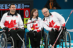 Pyeongchang, Korea, 17/3/2018-Mark Ideson, Dennis Thiessen, Ina Forrest, competes in the bronze medal game of wheelchair curling during the 2018 Paralympic Games. Photo: Scott Grant/Canadian Paralympic Committee.