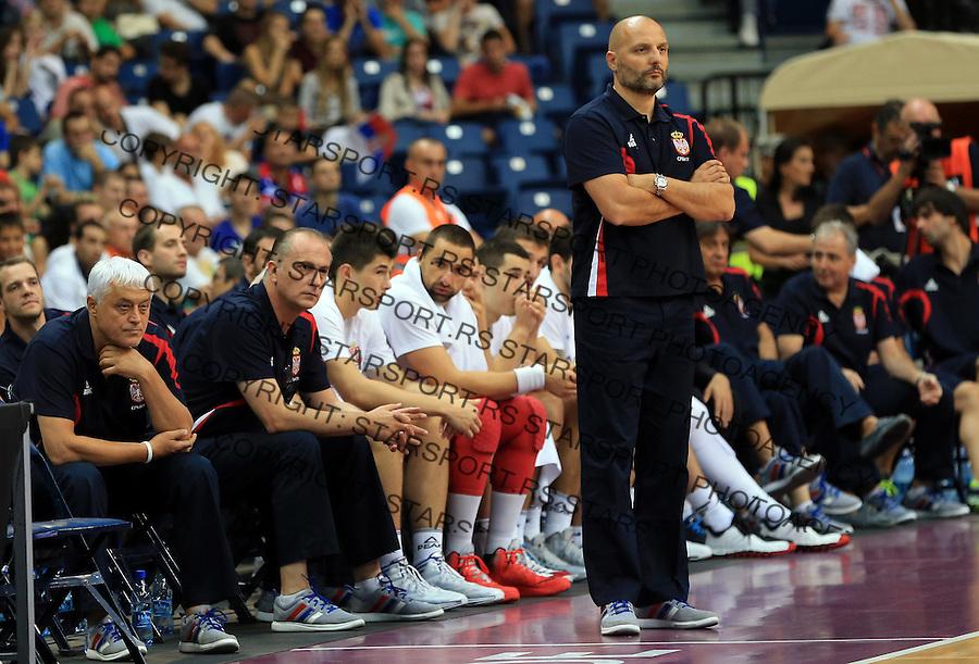 Kosarka Trofej Beograd<br /> Srbija v Turska<br /> Head coach Aleksandar Djordjevic<br /> Beograd, 08.17.2014.<br /> foto: Srdjan Stevanovic/Starsportphoto&copy;