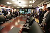 United States President George W. Bush delivers remarks during the ribbon-cutting ceremony for the newly renovated White House Situation Room, Friday, May 18, 2007.  <br /> Mandatory Credit: David Bohrer / White House via CNP
