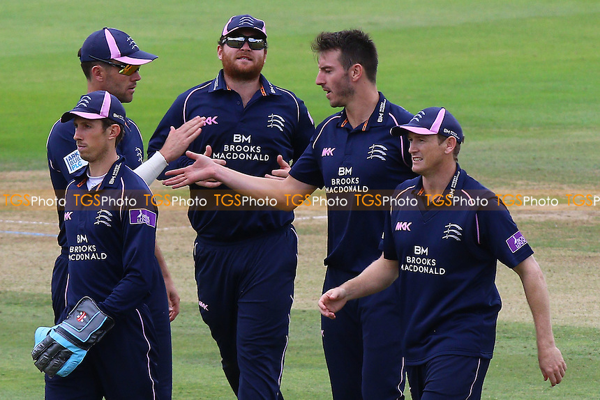 Toby Roland-Jones (2nd R) of Middlesex is congratulated by his team mates after taking the wicket of Tom Westley during Middlesex vs Essex Eagles, Royal London One-Day Cup Cricket at Lord's Cricket Ground on 31st July 2016