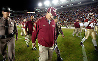 TALLAHASSEE, FL 11/19/11-FSU-UVA111911 CH-Florida State Head Coach Jimbo Fisher talks off the field after the Seminole's final chance at winning against Virginia went wide left Saturday at Doak Campbell Stadium in Tallahassee. The Seminoles lost to the Cavaliers 14-13..COLIN HACKLEY PHOTO