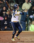 Michigan Wolverines Softball outfielder Lyndsay Doyle (11) at bat during a game against the University of South Florida Bulls on February 8, 2014 at the USF Softball Stadium in Tampa, Florida.  Michigan defeated USF 3-2.  (Copyright Mike Janes Photography)