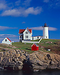 York County, ME<br /> Cape Neddick (&quot;Nubble&quot;)  Light Station (1879) under scattered clouds