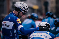 little bro-moment before the race start in the Central Square in Bruges between teammates Fabio Sabatini (ITA/Quick-Step Floors) &amp; Ariel Maximiliano Richeze (ARG/Quick-Step Floors)<br /> <br /> Driedaagse Brugge-De Panne 2018<br /> Bruges - De Panne (202km)