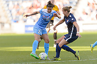 Bridgeview, IL, USA - Sunday, May 29, 2016: Chicago Red Stars forward Jennifer Hoy (2) and Sky Blue FC defender Kristin Grubka (13) during a regular season National Women's Soccer League match between the Chicago Red Stars and Sky Blue FC at Toyota Park. The game ended in a 1-1 tie.