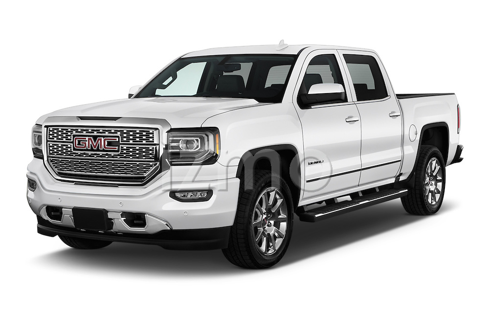 2016 GMC Sierra 1500 Denali 4WD Crew Cab Short Box Denali 4 Door Pick-up Angular Front stock photos of front three quarter view