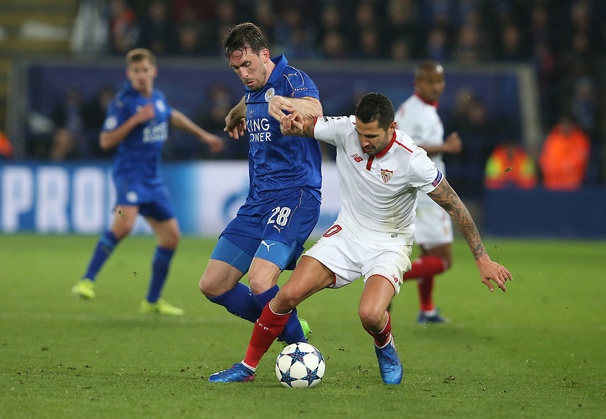 Leicester City's Christian Fuchs and Sevilla's V&Igrave;ctor Machin Perez<br /> <br /> Photographer Stephen White/CameraSport<br /> <br /> UEFA Champions League Round of 16 Second Leg - Leicester City v Sevilla - Tuesday 14th March 2017 - King Power Stadium - Leicester <br />  <br /> World Copyright &copy; 2017 CameraSport. All rights reserved. 43 Linden Ave. Countesthorpe. Leicester. England. LE8 5PG - Tel: +44 (0) 116 277 4147 - admin@camerasport.com - www.camerasport.com