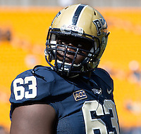 Pitt offensive lineman Alex Officer. The Pitt Panthers defeated the New Mexico Lobos 49-27 on Saturday, September 14, 2013 at Heinz Field, Pittsburgh, Pennsylvania.