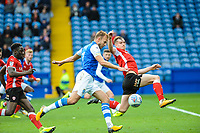 Sheffield Wednesday's forward Jordan Rhodes (7) shot is blocked by Barnsley's defender Liam Lindsay (6) during the Sky Bet Championship match between Sheff Wednesday and Barnsley at Hillsborough, Sheffield, England on 28 October 2017. Photo by Stephen Buckley / PRiME Media Images.