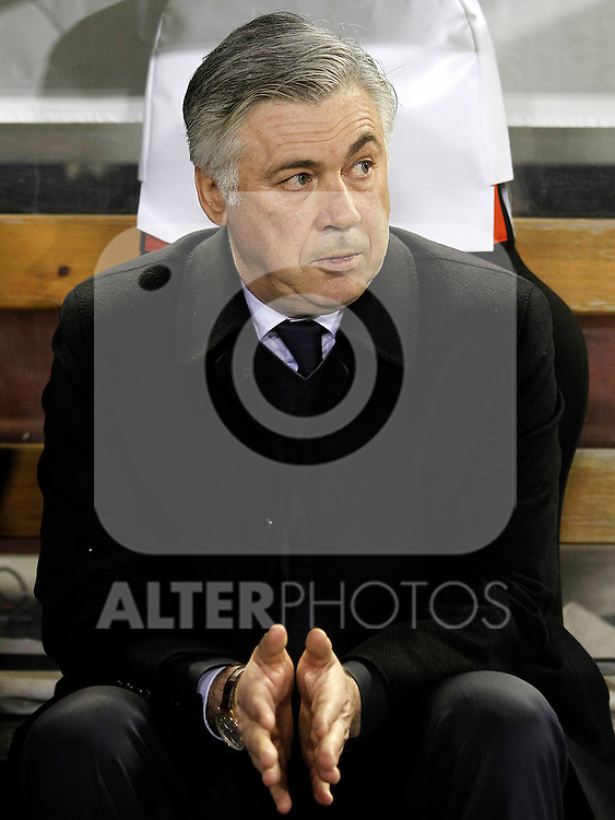 Paris Saint-Germain's coach Carlos Ancelotti during Champions League 2012/2013 match.February 12,2013. (ALTERPHOTOS/Acero)