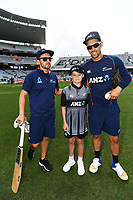 ANZ coin toss winner with Mike Hesson and Anaru Kitchen.<br /> New Zealand Black Caps v Australia.Tri-Series International Twenty20 cricket final. Eden Park, Auckland, New Zealand. Wednesday 21 February 2018. &copy; Copyright Photo: Andrew Cornaga / www.Photosport.nz