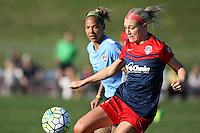 Piscataway, NJ - Sunday April 24, 2016: Washington Spirit defender Megan Oyster (4) during a National Women's Soccer League (NWSL) match at Yurcak Field.
