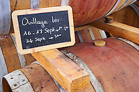 Ouillage - filling up the barrels - done 16 and 17 September. Domaine Haut-Lirou in St Jean de Cuculles. Pic St Loup. Languedoc. Barrel cellar. France. Europe.
