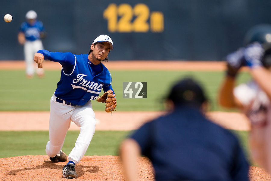 23 August 2007: Pitcher #10 Samuel Meurant pitches during the France 8-4 victory over Czech Republic in the Good Luck Beijing International baseball tournament (olympic test event) at the Wukesong Baseball Field in Beijing, China.