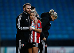 Tom Fitton hugs Olivia Ferguson of Sheffield Utd as she is substituted during the The FA Women's Championship match at the Proact Stadium, Chesterfield. Picture date: 8th December 2019. Picture credit should read: Simon Bellis/Sportimage