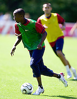 DaMarcus Beasley dribbles the ball during training in Hamburg, Germany, for the 2006 World Cup, June, 6, 2006.