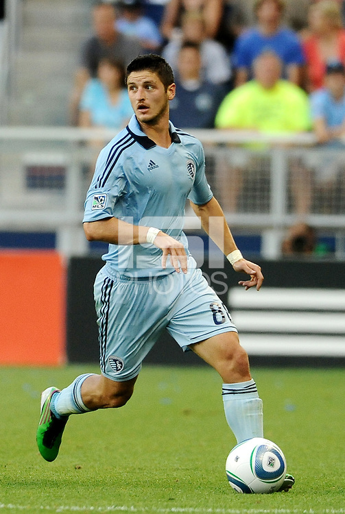 Sporting KC midfielder Milos Stojcev in action... Sporting KC defeated Vancouver Whitecaps 2-1 at LIVESTRONG Sporting Park, Kansas City, Kanas.