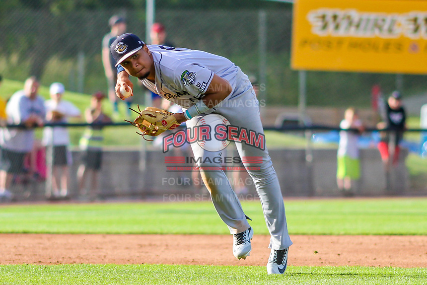 Kane County Cougars third baseman Ramon Hernandez (19) charges a ball during game one of a Midwest League doubleheader against the Wisconsin Timber Rattlers on June 23, 2017 at Fox Cities Stadium in Appleton, Wisconsin.  Kane County defeated Wisconsin 4-3. (Brad Krause/Four Seam Images)