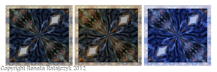 A mandala created from blue golden Petersite gemstone and two other variations of this artwork. Pietersite gemstone is said to be a link between ordinary consciousness and the spiritual world. It is also supposed to help in spiritual travel, especially to the Akashic Record Field and to past lives records.<br /> Can be also helpful on vision quest or during shamanic journey. It helps to stimulate the 3rd eye and the pineal gland.