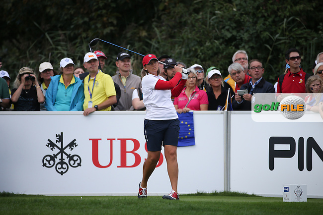 Angela Stanford (USA) on the 17th tee during Saturday morning's Foursomes, at The Solheim Cup 2015 played at Golf Club St. Leon-Rot, Mannheim, Germany.  19/09/2015. Picture: Golffile | David Lloyd<br /> <br /> All photos usage must carry mandatory copyright credit (&copy; Golffile | David Lloyd)