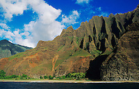 Na Pali Coast seen fro ship, Kauai, Hawaii, USA, August 1996