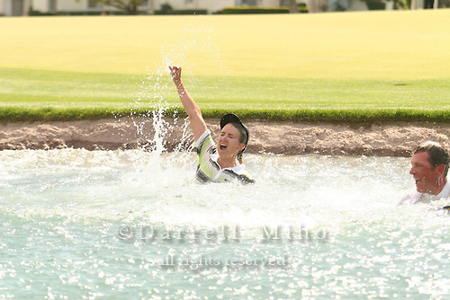 Apr. 2, 2006; Rancho Mirage, CA, USA; Karrie Webb celebrates winning the Kraft Nabisco Championship with the traditional dip in Poppy's Pond at the18th hole at Mission Hills Country Club. ..Mandatory Photo Credit: Darrell Miho.Copyright © 2006 Darrell Miho .