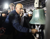 State College, PA - 10/22/2016: Penn State head coach James Franklin rings the victory bell after the game. Penn State upset #2 Ohio State by a score of 24-21 on Saturday, October 22, 2016, at Beaver Stadium in University Park, PA.<br /> <br /> Photos by Joe Rokita / JoeRokita.com
