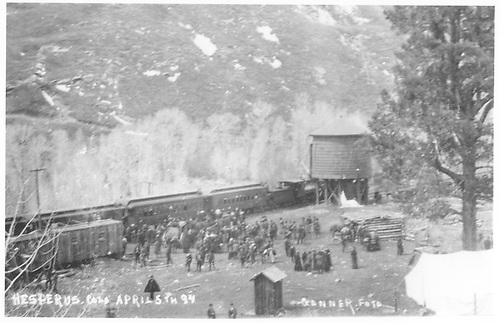 View of area where RGS Hesperus depot will be built.  A large crowd of people is attending the station stop of an RGS passenger train.<br /> RGS  Hesperus, CO  4/5/1894