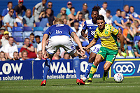 Ben Marshall of Norwich City runs at Kristian Pedersen of Birmingham City during Birmingham City vs Norwich City, Sky Bet EFL Championship Football at St Andrews on 4th August 2018
