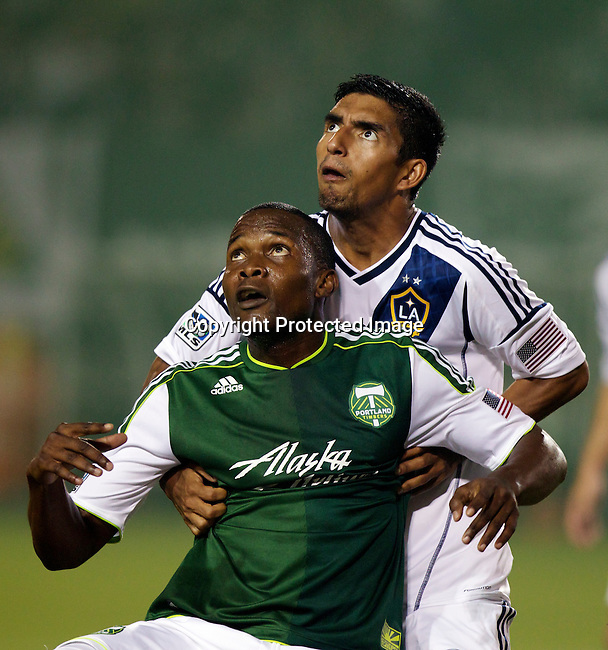 PORTLAND, OR - JUL 14: Portland Timbers Danny Mwanga fights for position at JELD-WEN Field on July 14, 2012.  (Steve Dipaola/Portland Timbers)