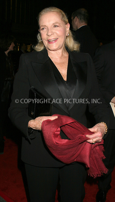 WWW.ACEPIXS.COM . . . . . ....NEW YORK, DECEMBER 8, 2004....Lauren Bacall at the NYC premiere of 'Beyond the Sea' at the Ziegfeld Theater.....Please byline: ACE009 - ACE PICTURES.. . . . . . ..Ace Pictures, Inc:  ..Alecsey Boldeskul (646) 267-6913 ..Philip Vaughan (646) 769-0430..e-mail: info@acepixs.com..web: http://www.acepixs.com