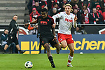 30.11.2019, Rheinenergiestadion, Köln, GER, DFL, 1. BL, 1. FC Koeln vs FC Augsburg, DFL regulations prohibit any use of photographs as image sequences and/or quasi-video<br /> <br /> im Bild v. li. im Zweikampf Sergio Cordova (#9, FC Augsburg) Sebastiaan Bornauw (#33, 1.FC Köln / Koeln) <br /> <br /> Foto © nordphoto/Mauelshagen