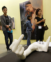 Chinese dissident artist Ai Weiwei's marble sculpture entitled 'Marble Arm' (2007) is displayed by 'Galerie Urs Meile' at ART HK 11, Asia's biggest art fair, Hong Kong, China. Ai Weiwei was arrested for 'economic crimes' at Beijing Airport on 04 April 2011, and has not been seen since. ART HK 11 runs from 26 to 29 May 2011, and hosts 260 galleries from 38 countries.<br />