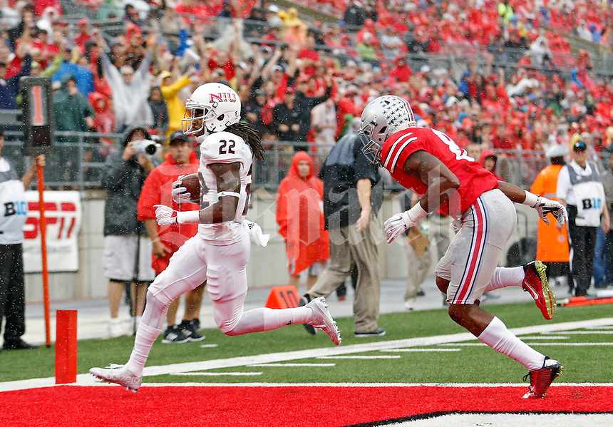 Ohio State Buckeyes cornerback Gareon Conley (8) can't get to Northern Illinois Huskies wide receiver Aregeros Turner (22) has he scores on a run during the 1st quarter of their game at Ohio Stadium on September 19, 2015.  (Dispatch photo by Kyle Robertson)